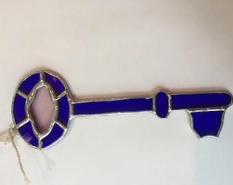 Stained glass skeleton key, blue glass key, sun catcher, artifex5