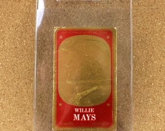 Willie Mays - Outfield - New York Giants - 1965 Topps Embossed Baseball Cards -  Card Number 27 - Very Good to Excellent