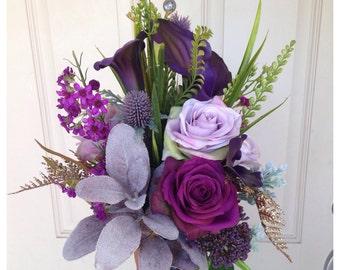 Purple calla bridal bouquet