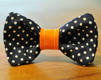 Navy Blue Polka Dot Dog Bow Tie / One In Stock