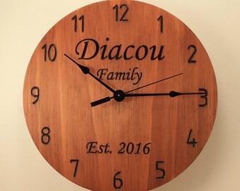 Pine Personalized wedding clock Custom clock Anniversary clock Wood clock Wall clock Wooden wall clock Family name clock Monogram gift
