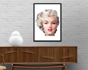 Marylin Monroe triangles print Marylin Monroe Modern triangle design wall art Minimalist style poster Vogue wall decor Best price canvas art