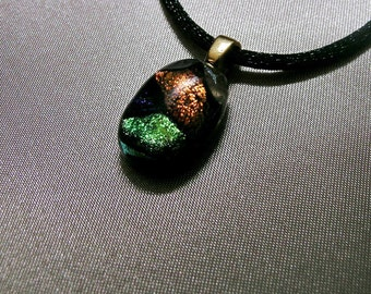 Small Fused Glass Pendant featuring a trio of Dicroic glass
