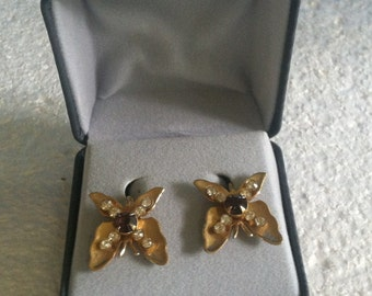 Vintage Butterfly Screw-back Rhinestone Earrings