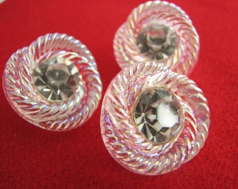 "Clear glass buttons with large rhinestone, 3 wedding dress buttons with iridescent lustre, 3/4"" or 7/8"", unused!!"