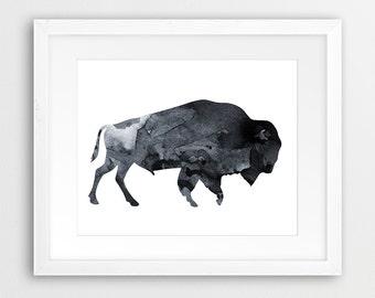 Buffalo Watercolor Print, Bison Wall Art, Buffalo Watercolor Grey, Black & White, Animal Print, Modern Wall Art, Nursery Decor Printable Art