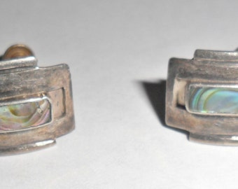 Cool petite vintage Mexico sterling silver screwback earrings with abalone inlay