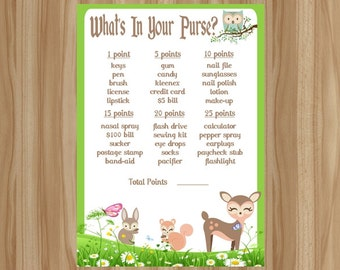 Woodland Baby Shower Game, Forest Animal Baby Shower Game, Woodland Baby Shower, Forest Animal Baby Shower, What's In Your Purse