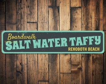 Boardwalk Salt Water Taffy Sign, Personalized Beach House Sign, Custom Beach Location Sign, Metal Beach Decor - Quality Aluminum ENS1001344
