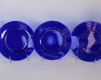 "Vintage 1930's (6) Cobalt Blue 8"" Plates"
