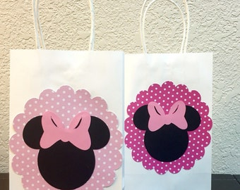 15 ct. Minnie Mouse inspired treat bags for birthday party, first birthday, baby shower, goodie bags, disney party.