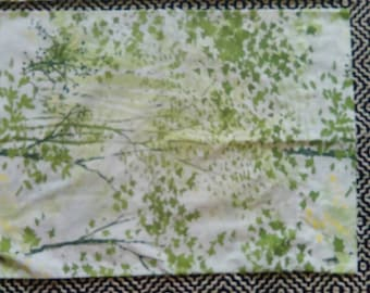 Pair of 2 Sears Perma Prest Standard Pillowcases Green VGUC Vintage Pillow Case
