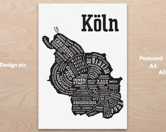Koeln Cologne Citymap, Germany Map, Graphic Art, Poster, Print, Gift ,Stadtplan