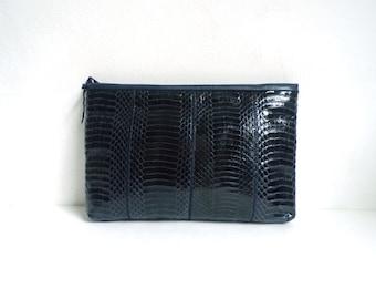 faux leather clutch, dark blue, croc alligator snake print clutch bag, 1970s small evening bag, 70s purse