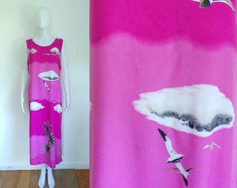90s tropical dress size XL / 1X, pink seagull palm tree print lightweight rayon dress, 1990s sleeveless day dress
