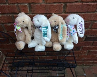 Monogrammed Jelly Cat Bunnies - Easter Gift - New Baby Gift - Rabbits - Spring - Tan - White - Personalized