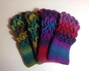 Handmade crochet Dragon scale fingerless gloves wrist warmers children adult