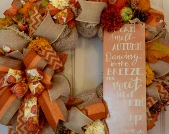 Fall Burlap and Mesh Wreath with Mini Mums, Pumpkins, Pinecones and Leaves; Autumn Wreath Door Decor; Fall Door Decor; High Quality Wreath