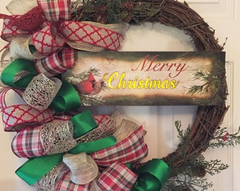 Christmas Grapevine Wreath with Lighted Sign; Merry Christmas Decor; Christmas Wreath; Front Door Wreath; Handmade Wreath