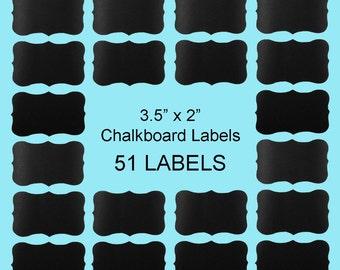 "51 Small Fancy Rectangle Chalkboard Labels (3.5""x2"") / Mason Jar Labels / Container Labels / Chalkboard Stickers / Drink Labels"