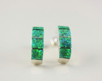 Native American Zuni Inlay .925 Sterling Silver Lab Opal Post Earrings Signed