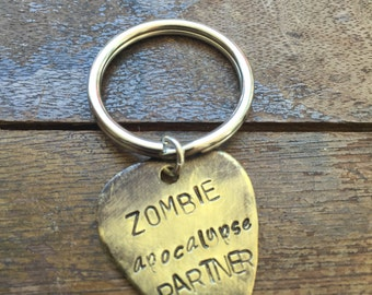Zombie Apocalypse Partner - Antique Distressed Brass Guitar Pick Hand Stamped Personalized Keychain Keyring