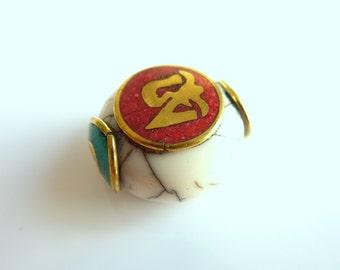 Ethnic bead puck Tibetan-Nepalese PEK045-030