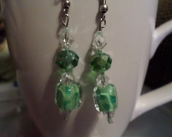 Light Green With Dark Green Bead On Top Dangle Drop Earrings, Christmas Gift, Birthday Gift, Gift For Any Ocassion.
