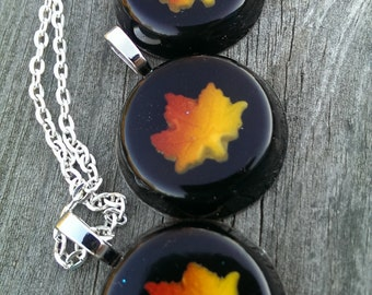 Fall Leaf Resin Necklace