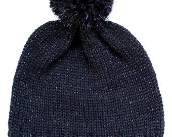 Pom Pom Hand knit Beanie Black Glitter