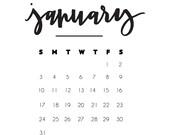 2016 Printable Hand Lettered Calendar