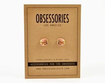 Double Cheeseburger Hamburger Burger Stud Earring Post Miniature Food Earring Junk Food Jewelry Fast Food Accessories 90s Grunge Foodie Gift