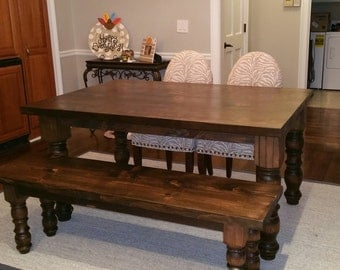 Farmhouse table with 1 matching bench & turned legs