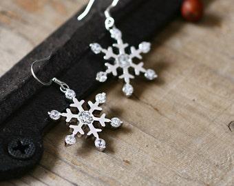 Frozen Snowflake Earrings 925 Sterling Silver Dainty Hook Earrings