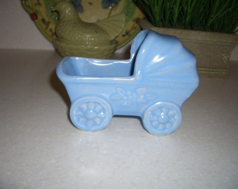 Vintage Pottery... Blue Baby Carriage Planter...Baby's Room