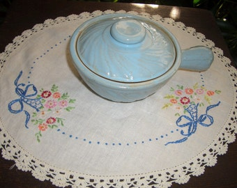 Vintage Light Blue Pottery/Stoneware Covered Soup Bowl/Crock with Handle...USA