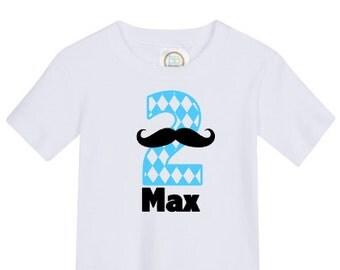 custom personalized boys birthday shirt mustache vinyl