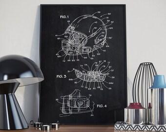 Football Helmet Patent, Helmet Patent Poster, American Football Patent, Sport Bar Decor, Home Decor, Patent Art, Football Patent - DA0129