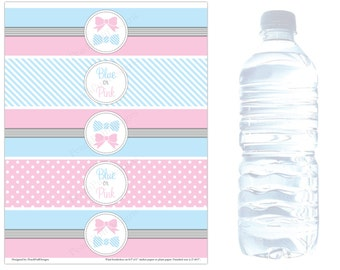 Gender reveal water bottle labels (INSTANT DOWNLOAD) - Baby shower water bottle labels - Baby shower water labels