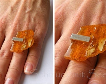 Amber Ring, Silver 925 NEW