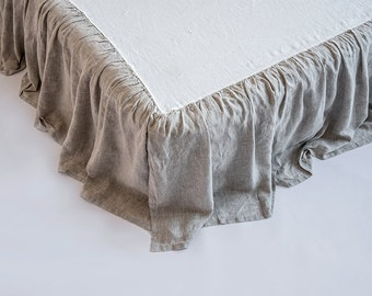 Linen Ruffled Dust Bed Skirt Stone Washed Super Soft Twin Full Double Queen King 100% European Flax Natural Organic HOT WINTER SALES!