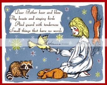 Woodland Animals Prayer Animal Love Girl & Bird Rabbit Racoon Squirrel - Instant Art Printable Download - Altered Art Paper Crafts Scrapbook