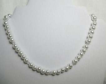 BRIDAL NECKLACE   PEARL Necklace   Wedding Necklace   Beaded Necklace   Pearl and Swarovski Crystal Necklace   White Pearl Necklace