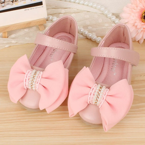 flower girl wedding shoes pink bridesmaid shoes real leather flower shoes 4191