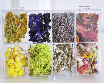 Dried flowers, Preserved flower, Dried moss, Dried flower for jewelry, flower for candle or wax, dried real flower and moss, resin jewelry