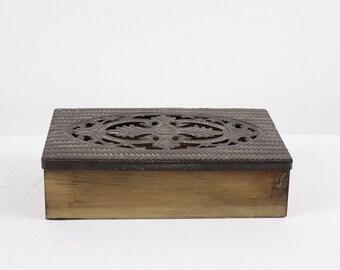 Vintage Jewelry Box - Wood Box - Metal Lid - Keepsake Box
