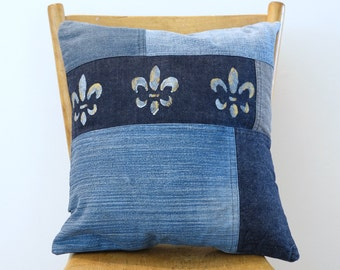 "BLUE jeans PiLLOW CoVER - Handmade Denim Pillow - Throw pillow - upcycled denim - recycled jeans - Fleur de Lys - Hand painted  - 16""x16"""