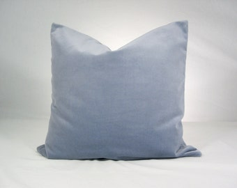 Cotton velvet ~ cushion cover ~ pillow cover ~ Lilac grey ~ invisible zip ~ pale blue