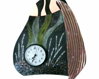 Wall clock Raku ceramic and patinated copper #12