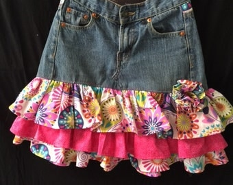 Girls Repurposed Denim Skirt
